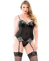 Curve Anne Embroidered Corset and G-String Black