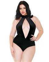 Curve Alexandra Velvet High Neck Halter Teddy w/Front and Back Snap Closure Black