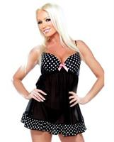Underwire Babydoll with Polka Dot Detail and G-String