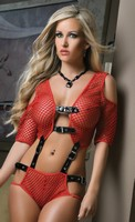 Opened Fishnet Cami and Boyshort Set
