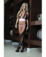 Cutout Halter Bodystocking w/Sequined Panty Wine O/S