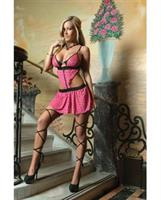 Mesh Draped Dress w/Zipper Front and Removable Criss Cross Stockings