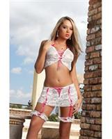 Boyfriend Skirt Set w/Garters White