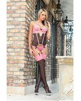 Sweet Valentine Corset w/Wired Cups and Stockings Brilliant Pink O/S