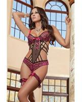 Stunning Lace Teddy w/Wired Cups and Cheekini Bottom w/Leg Garters