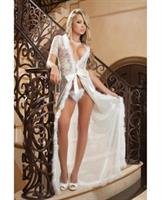 Glam Night Lace Robe w/Fur and Sheer Mesh