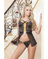 Babydoll w/Wired Cups and Lace and Ribbon Bumble Bee