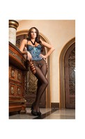 Lace and Satin Bodystocking w/Wired Cups, Lace Up Front Detail and Open Crotch Prussian Blue O/S