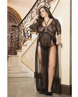 Sheer and Lace Gown w/Double Front Slit w/Straps and Thong Black O/S