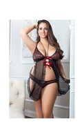 Silky Lace Babydoll w/Mesh Trimmed In Lace, Golden Beaded Straps and Cheeky Panty Red