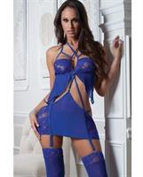 Lace and Mesh Garter Dress w/Adjustable Straps and Stockings Cobalt Blue