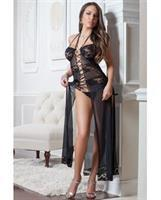 Lace and Mesh Gown w/Lace Up Front and Thong Black