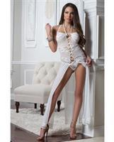 Lace and Mesh Gown w/Lace Up Front and Thong Porcelain