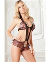 Plunging Halter Teddy with Vinyl Trim Red Wine