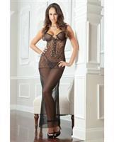 Tattoo Effect Lace and Wired Cup Gown Dress w/Thong Black