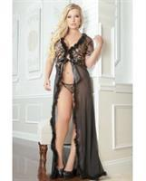 Sensual Lace w/Fur Trim Robe and Thong - Golden Black