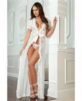 Sensual Lace w/Fur Trim Robe and Thong Pearl