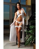 Flyaway Long Dress w/Matching Thong and Leg Garters White