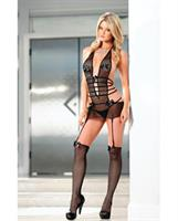 Fishnet Cut Out Dress w/Removable Garters, Sheer Skirt, Thong and Thigh Highs Black O/S