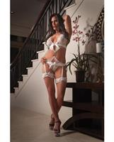 Jacquard Lace Draped Garter Teddy and Leg Garters White O/S