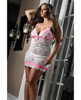 Feminine Fitted Shape Dress w/Pink Satin and Thong