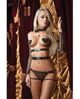 XRated One Piece Vinyl Teddy w/Adjustable Straps, Tickle Feather, Gloves and Pasties BlK