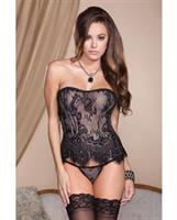 Eyelash Lace Corset w/Lace Up Back and G-String