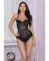 Stretch Satin, Lace and Mesh Belted Bustier w/Padded Underwire Cups and Panty Black