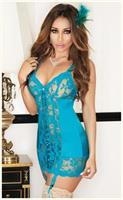 Satin and Floral Lace Open Back Chemise