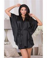 Holiday Flutter Sleeve Satin Robe w/Attached Sash and Trim Black