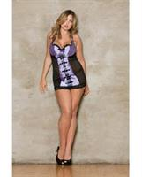 Mesh and Lace Overlay Satin Halter Chemise