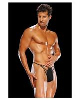 Male power g-string with straps & rings- black