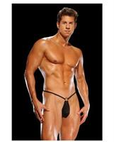 Male power g-string with front ring black
