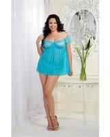 Mesh and Lace Off The Shoulder Babydoll w/G-String Turquoise
