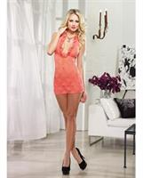 Stretch lace halter chemise and thong