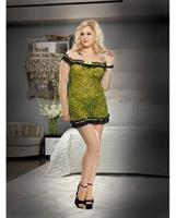 Leopard Print Stretch Mesh Chemise with Thong
