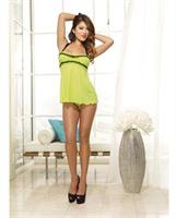 Mesh halter babydoll with adjustable tie and thong