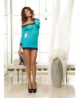 Stretch Mesh Off Shoulder Tunic with Thong