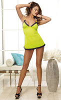 Stretch mesh chemise and thong