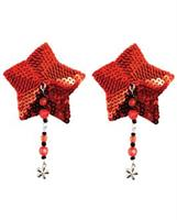 Sequin Nipple Covers Star w/Beads and Flower Charm - Red