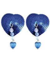 Sequin Nipple Covers Heart w/Beads and Heart Charm - Blue