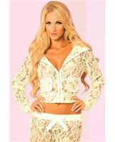 Pink Lipstick Loungewear Luxurious Lace Pocket Hoodie