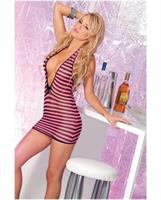 Pink lipstick deep plunge mini dress black and pink striped