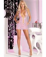 Pink lipstick shimmer sequin mini dress