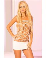 Pink Lipstick Web of Seduction Tube White Dress