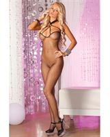 Pink lipstick diamond net body stocking