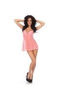 Sheer Babydoll w/Lace Overlay and Molded Cups, Open Slit In Back Adjustable Straps and Panty Peach