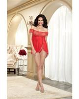 Metallic Heart and Mesh Babydoll and G-String Lipstick Red