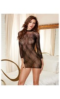 Stretch Lace 3/4 Length Sleeves, Snap Closure and Open Back w/Adjustable Lace Detail Black