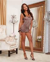 Stretch Mesh Chemise w/ Lace Straps and Wide Adjustable Back Lace-Up Detail Leopard
